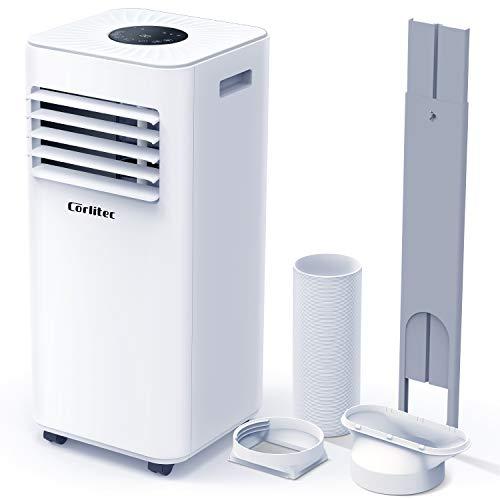 Corlitec Portable Air Conditioner 9000 BTU 3-in-1 Air Conditioner, Dehumidifier, Cooling Fan with 2 Fan Speeds, Digital Display & Remote Control, and 24 Hour Timer for Rooms Up to 215ft