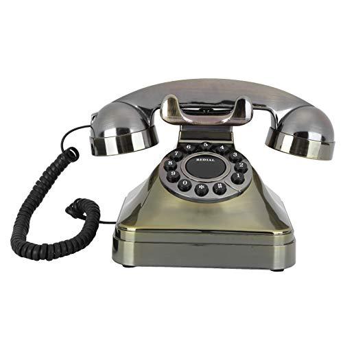 Jopwkuin Teléfono Fijo Vintage, Teléfono de Llamada de Alta definición de Bronce Antiguo Retro Teléfono Fijo Antiguo con botón Grande con cableado de EE. UU. para la Oficina en casa