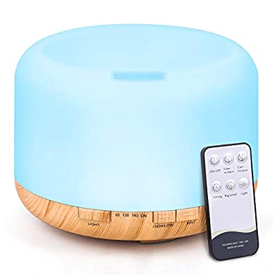 Foto di Tenswall - Diffusore di aromi, 500 ml, umidificatore a ultrasuoni, con telecomando, nebulizzatore elettrico, diffusore di oli con 7 colori cangianti e spegnimento automatico senza acqua