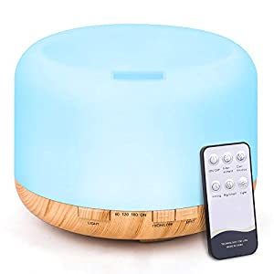 TENSWALL - Difusor de aroma, 500 ml, humidificador ultrasónico con mando a distancia, nebulizador, difusor de aceites con 7 colores cambiantes y apagado automático sin agua