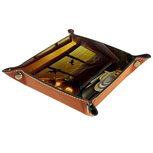 Valet Tray, PU Leder Catchall, Tray Organizer, Aufbewahrungsbox für Uhren Schmuck Münzen Schlüssel Brieftasche Halloween Windows Kürbis Laterne Ghost Bat
