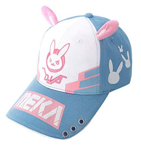 Wish Costume Shop Baseballkappe mit Hasenohren Dva Lovely Cosplay Zubehör Hut mit Tattoo - Blau - Einheitsgröße