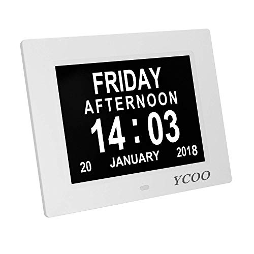 YCOO Dementia Clocks 7 Inches Calendar Clock Day Date Clock Digital Clock with Large Clear Digits Display, Alarm Clock With HD Digital Photo Frame (7 Inches White)