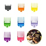 """Intsun Hair Clipper Guards 8 Pcs Professional Guide Combs Set Colorful Clipper Comb Attachment with 8 Cutting Lengths from 1/8"""" to 1""""(3-25mm) Fits for Most Size Wahl Clippers/Trimmers"""
