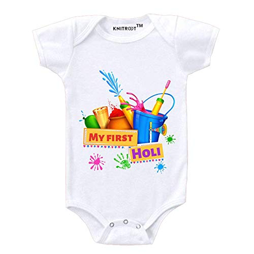"""KNITROOT Holi Baby Romper White Color Half Sleeve""""My First Holi Bucket & Ballon""""(3-6 Months)"""