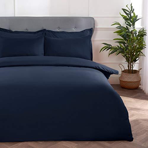 Sleepdown Block Microfiber Plain Dye Duvet Cover Quilt Bedding Set with Pillowcases Easy Care Soft Warm Cosy - Double - Navy