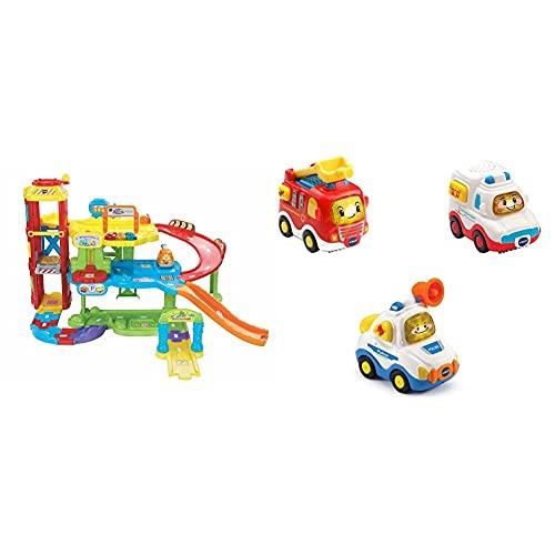 VTech Baby 80-180004 - TUT TUT Flitzer - Parkgarage & 80-242104 TUT TUT Baby Flitzer - 3er Set Einsatzfahrzeuge (Feuerwehrauto, Rettungswagen, Polizei), Babyautos, Mehrfarbig