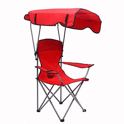 Bodycarewl Lagerstühle mit Schatten-Baldachin, Stuhl-Folding-Camping-Recliner Leichter und langlebiger Außensitz, perfekt für Camping, Feste, Garten, Angeln, Strand, BBQs,Rot