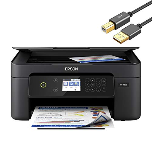 "Epson Expression Home XP Series Wireless All-in-One Color Inkjet Printer - 3-in-1 Print, Scan, Copy for Business Office - Voice-Activated, Auto 2-Sided Printing, 2.4"" Color LCD - 4 Feet Printer Cable"