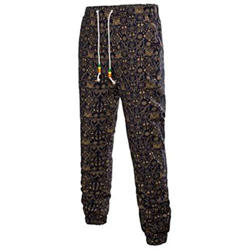 FR-pants-personality Pantalons décontractés Hommes 3D Floral Imprimé Lin Joggers Pantalons de survêtement Été Mâle Pantalons de survêtement en Vrac Sarouel 17 Yellow S