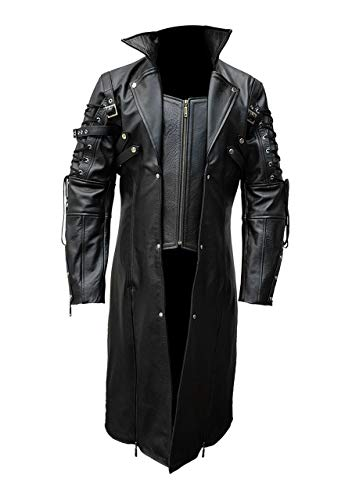 Mens Real Black Leather Goth Matrix Trench Coat Steampunk Gothic