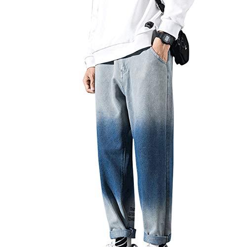 Generic11 Pantalones de Mezclilla para Hombre Estilo Informal Suelto No es fácil de desvanecer Pantalones Vaqueros de Primavera y otoño Pantalones de Color Degradado Salvaje