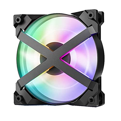 ZHMIAO Efecto de luz RGB del Ventilador de chasis de 120GT, Control de Temperatura PWM, Cuchillas de Ventilador supercargadas de Doble Capa ARGB de Escritorio Mute Computer