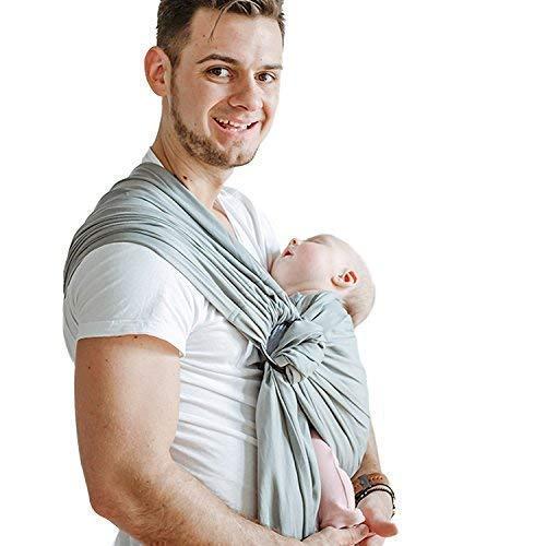 Shabany® - Ring Sling Tragetuch - 100% Bio Baumwolle - Babybauchtrage für Neugeborene Kleinkinder bis 15 KG - inkl. Baby Wrap Carrier Anleitung - grau (jumps)