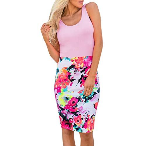 Damen Kleid Sommer ärmellose Rundhals Weste sexy Kleid Blumendruck Nähte Kleid Polyester lässig bequeme Minikleid (M, Pink)