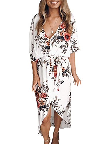 YOINS Women Floral Print V Neck Dress Half Sleeves Crossed Front Maxi Dresses for Vacation Beach ,White,UK 14-16 (Large)