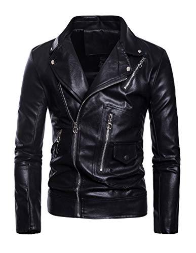 Lavnis Men's PU Leather Jacket Causal Belted Faux Leather Motorcycle Jacket Zipper Biker Coat Style 2 Black L