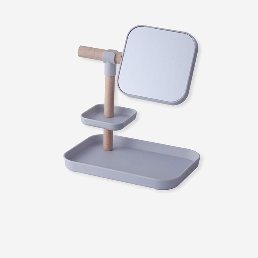 スイス人つば信者CSQ ホワイトHDミラー、マルチレイヤー単鏡メイクアップミラー家庭用ミラーストレージトレイとミラードミトリーミラーサイズ26 * 18 * 28CM メイクアップとミラー (色 : Gray, サイズ さいず : 26*18*28CM)