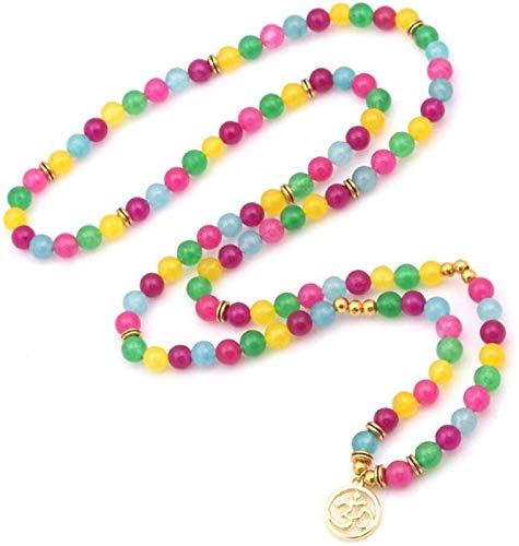 KEEBON Pulsera de Piedra Mujer, 7 Chakra Piedra Natural Bead Agate Amatista Pulsera Lucky Yoga Multilayer Bangle Golden Om Colgante Joyería para Damas