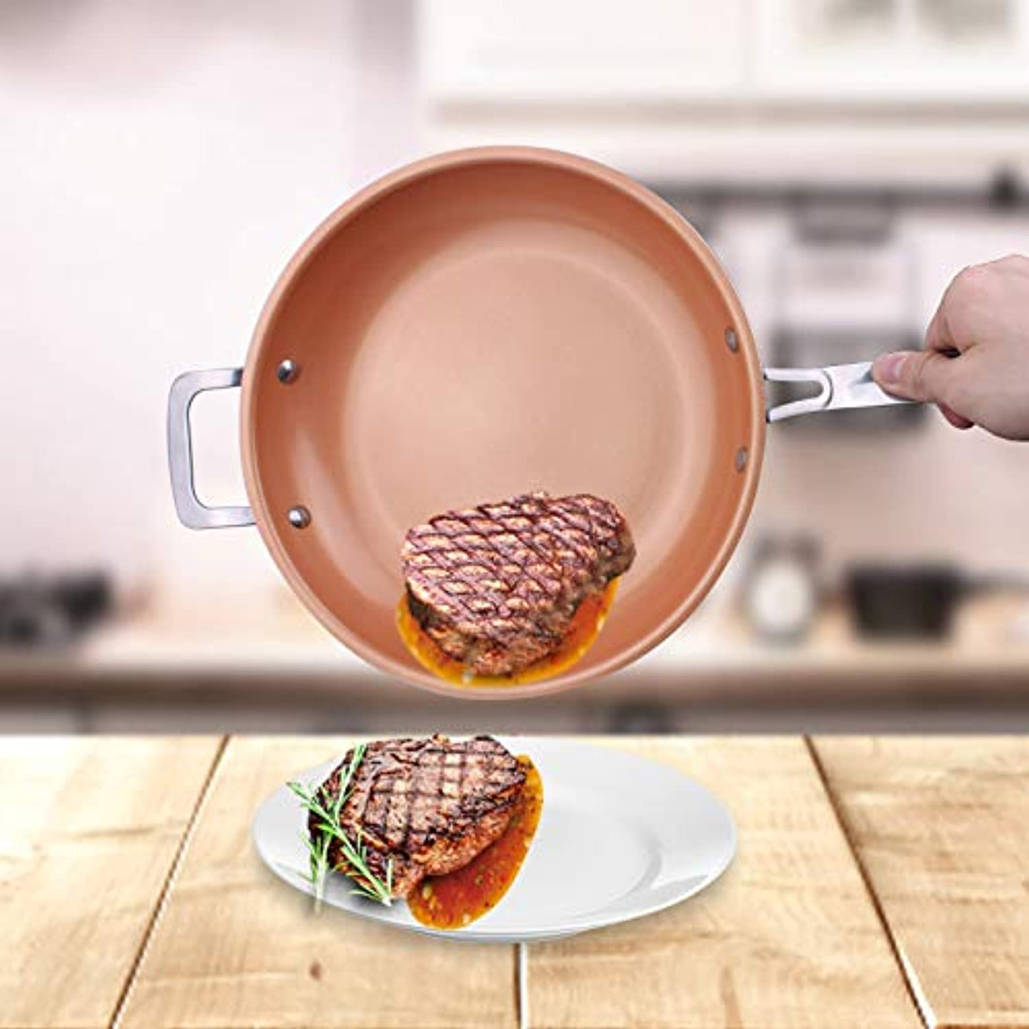 Farmerly Non-Stick Copper Frying Pan Ceramic Induction Skillet Copper Red Pan Saucepan Oven & Dishwasher Safe 12 Inches Nonstick Skillet   12inch 2.0mm