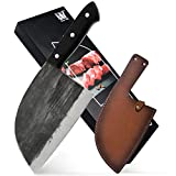 XYJ Full Tang Butcher Knife Handmade Forged Kitchen Chef Knife High Carbon Clad Steel Butcher Cleaver with Leather Knife Sheath
