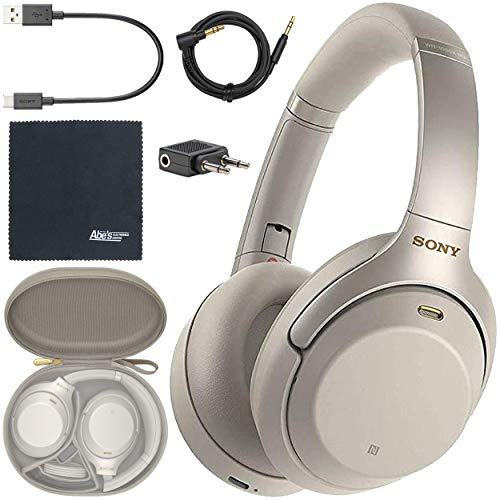 Sony WH-1000XM3 Wireless Noise-Canceling Over-Ear Headphones (Silver) WH1000XM3/S + AOM Bundle - International Version (1 Year AOM Warranty)