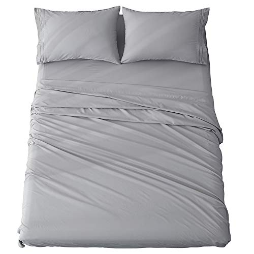 Shilucheng Queen Size Bed Sheets Set Microfiber 1800 Thread Count Percale Super Soft and Comforterble 16 Inch Deep Pockets Wrinkle Fade and Hypoallergenic - 4 Piece (Queen, Grey)