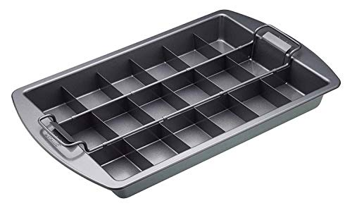 Kitchen Craft Chicago Metallic Professional Antihaft Brownie Dose mit Trennfächern und Hebeboden, 23 x 33 cm (22,9 x 33 cm), grau