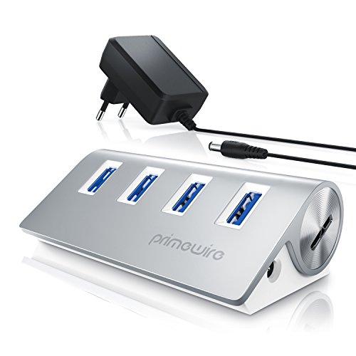 Primewire - Attivo 3.0 USB Hub a 4 Porte - Incluso Alimentatore - 4 Port Hub distributore - per Notebook Netbook Computer Portatile ultrabook Tablet PC Mac MacBook