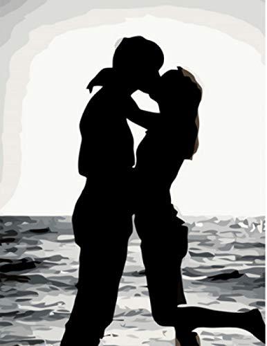 Malen Nach Zahlen Erwachsene Anfänger Kinder Mädchen , DIY Ölgemälde auf Leinwand Geschenk Malen Nach Zahlen Kits Sich küssen Ohne Rahmen 40x50 cm