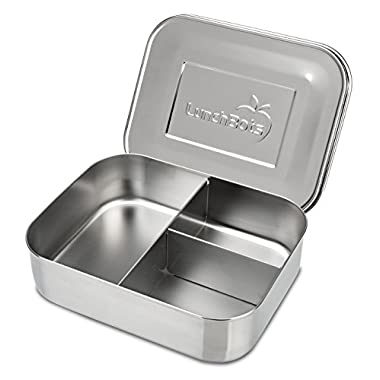 LunchBots Trio II Stainless Steel Food Container - Three Section Design Perfect for Healthy Snacks, Sides, or Finger Foods On The Go - Eco-Friendly, Dishwasher Safe and BPA-Free - All Stainless