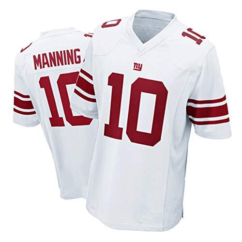 NCGD Giants 10# Manning Rugby Trikot Herren American Football Training T-Shirt, schnelltrocknend atmungsaktiv Jugendliche 8-20 Spiel Jersey Gr. S, weiß