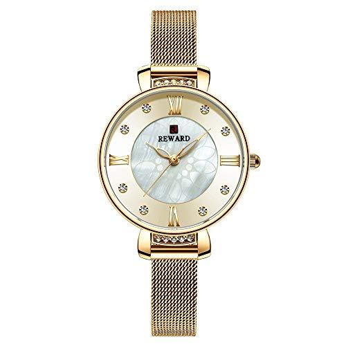 JCCOZ-URG Moda de Lujo del Reloj for Mujer del Rhinestone de Malla de Acero Correa de Reloj de Pulsera de Las Mujeres del Reloj Impermeable de los Relojes Casuales URG (Color : Gold)