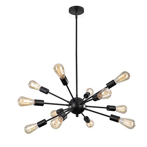 ENCOFT Sputnik Lámpara Colgante con 12 Luz en Metal Base E27 Moderno Iluminación Colgante Lámparas de Araña para Sala de Estar Dormitorio Cocina, Negro Sin Bombilla