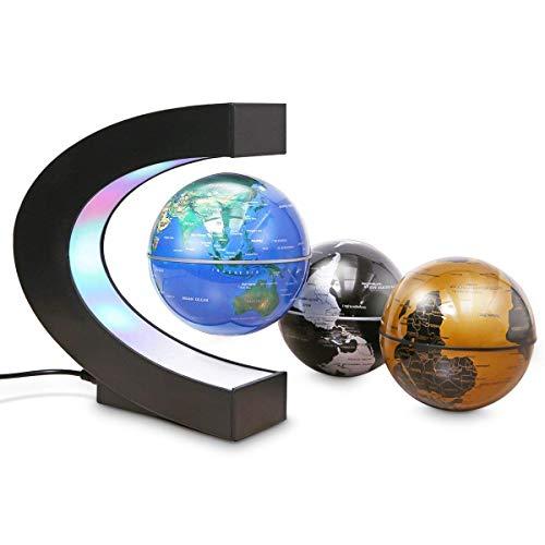 Floating Globe mit LED-Leuchten C-Form Basis, Magnetfeldschwebung Floating World Map Globe Schwerkraft Pädagogisch, Home/Office Schreibtisch Dekoration, Väter Studenten Lehrer Geburtstagsgeschenk