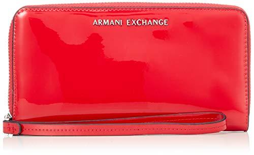 ARMANI EXCHANGE Fabric Round Zip - Borsette da polso Donna, Rosso (Red), 10.5x2.5x19 cm (B x H T)