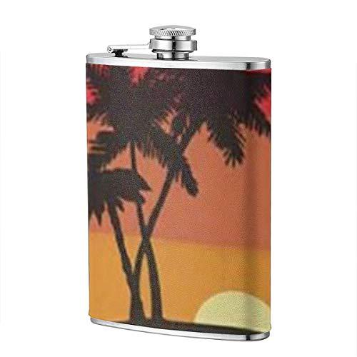 Sunset Black Palm Tree 8OZ Edelstahl Flachmann Tragbare Tasche Outdoor Flagon