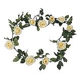 バラ ガーランド 装飾 飾りつけ 2m 薔薇 ローズ 造花 花材 つた 英国風 (ホワイト)