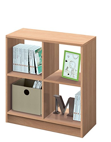 Estantería librería Biblioteca pequeña y Abierta Color Roble, 4 estantes para Oficina, despacho o Estudio. 70cm Altura x 66cm Ancho x 32cm Fondo