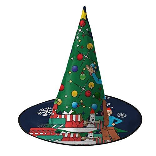 NUJSHF Tintn y Nieve Alrededor del rbol de Navidad, Sombrero de Bruja, Disfraz Unisex para Vacaciones, Halloween, Navidad, Carnaval, Fiesta