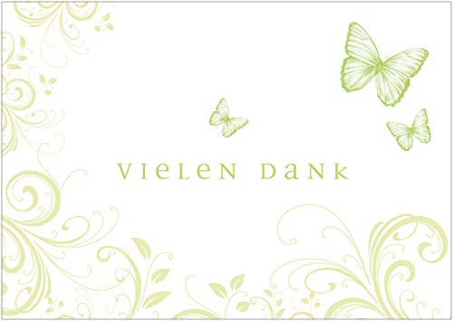 Erhältlich im 1er 4er 8er Set: Vielen Dank Schöne Dankeskarte (Klappgrußkarte/Geburtstagskarte/Grußkarte) zum Valentinstag, Geburtstag mit Ornamenten in zartem Grün (Mit Umschlag) (4)