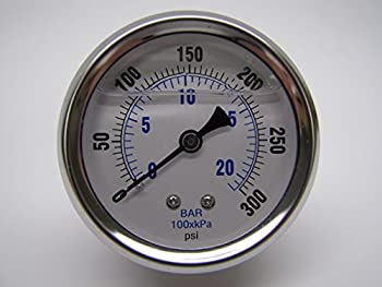 New Stainless Steel Liquid Filled Pressure Gauge WOG Water Oil Gas 0 to 300 PSI Center Back Mount 0-300 1/4  NPT Male 2.5  FACE DIAL for Compressor Hydraulic AIR Tank