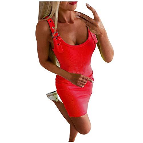 BaZhaHei Damen Summer Elegante Sexy Frauen Spitze Slim Kleid Elegante Neckholder Kragen Partykleid Sommerkleid Hochzeit Cocktail Minikleid Freizeitkleid (M, Rot)