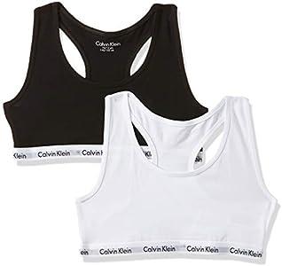 Calvin Klein 2pk Bralette Ropa interior, White/Black 908, 6-7 años para Niñas