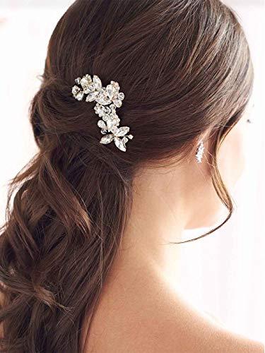 Handcess Braut Hochzeit Haarkämme Kristall Silber Braut Haarschmuck Strass Kopfschmuck für Braut und Brautjungfern (Gold)