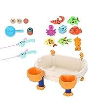 WBTY Magnetisk fiskebricka, sandvatten spelbord magnetiskt fiskespel pedagogisk utomhus badleksaker för 2 3 4-åringar