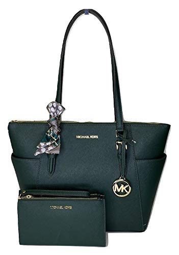 MICHAEL Michael Kors Charlotte Large Zip Tote bundled with Double Zip Wallet and Skinny Scarf (Racing Green)