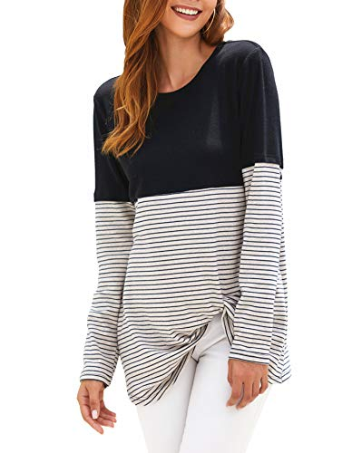 Xpenyo Damen Langarm Tops Twisted Sweatshirt Lose T-Shirt Blusen Tunika Tops Gr. 46, 8-Stripe