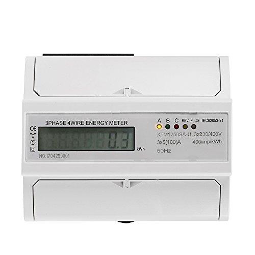 XTM1250SA-U Digitaler LCD Drehstromzähler/Stromzähler 5(100) A 3x230V / 400V-Energiezähler 3-Phasen-4-Draht-DIN-Schienenstromversorgung Genau für DIN Hutschiene