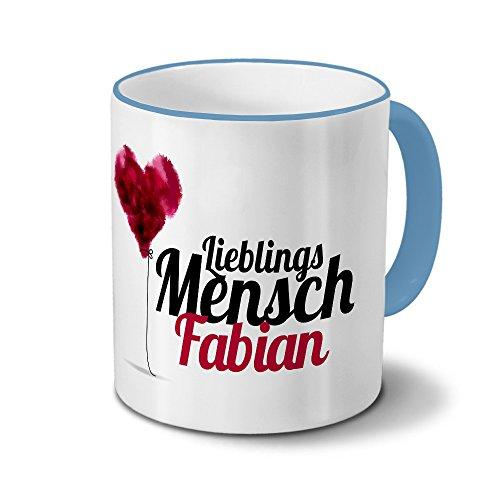 printplanet Tasse mit Namen Fabian - Motiv Lieblingsmensch - Namenstasse, Kaffeebecher, Mug, Becher, Kaffeetasse - Farbe Hellblau